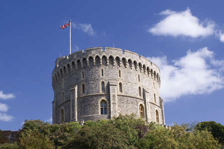 Round Tower with the royal flag, Windsor Castle in UK  photo