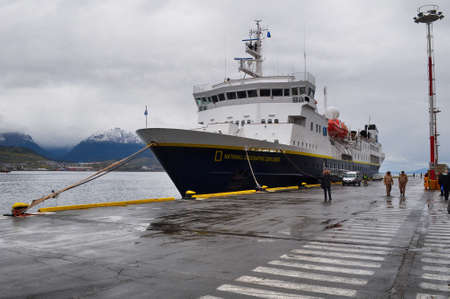 geographic: USHUAIA, ARGENTINA - FEBRUARY 8, 2015. Small passenger vessel National Geographic Explorer moored at Ushuaia port. Editorial