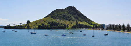 Panoramic view of Mount Maunganui in Tauranga. Tauranga is a harbourside city in the Bay of Plenty region on New Zealands North Island.