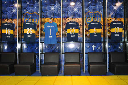 BUENOS AIRES, ARGENTINA - FEBRUARY 28, 2015: Club Atletico Boca Juniors dressing room, Estadio Alberto Armando (La Bombonera) stadium. Boca Juniors is most successful and popular team in Argentina .