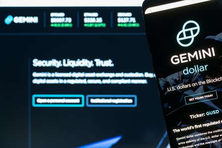 KYRENIA, CYPRUS - OCTOBER 5, 2018: Gemini webpage displayed on the smartphone screen. Gemini is a digital currency exchange and custodian.