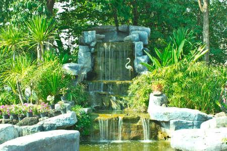 Thailand garden with waterfall Stock fotó