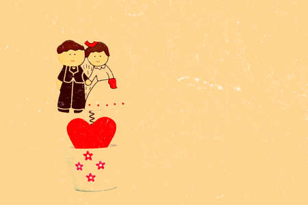 Cartoon wedding couple on old paper background photo