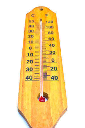 celsius: Wooden celsius fahrenheit thermometer over white