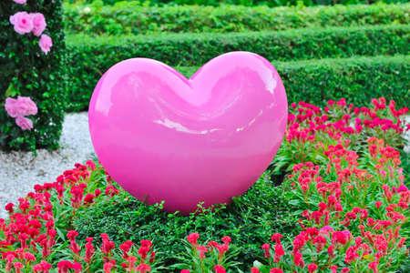 pink heart: Pink heart in garden Stock Photo