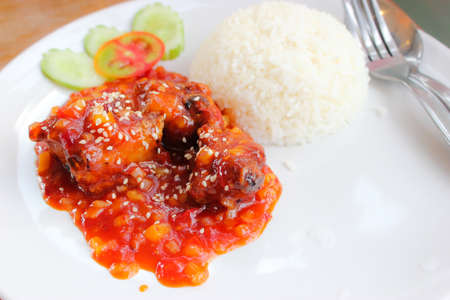 Korean sauce with Pork ribs and white rice photo
