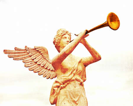 ファブリックの質感 - ゴールデン ホーンを吹く天使の彫刻