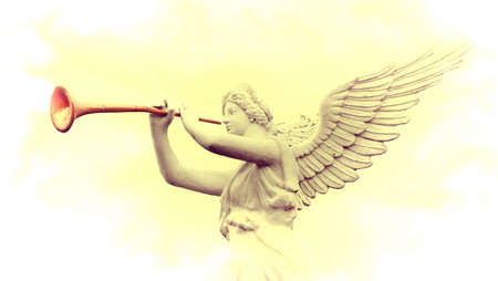 angel gabriel:  Vintage image of sculpture angel blowing horn