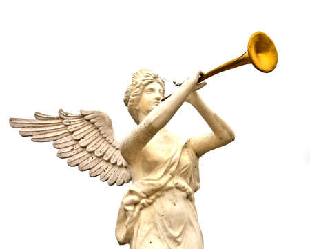 messengers of god: A trumpeting golden music angel statue Stock Photo