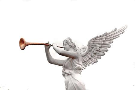 messengers of god: A trumpeting golden music angel statue detail