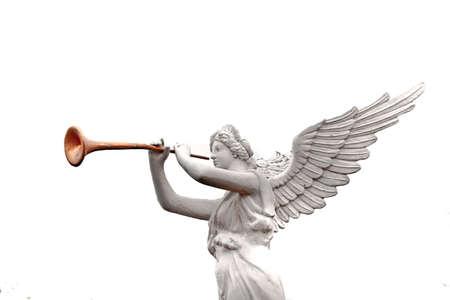 A trumpeting golden music angel statue detail