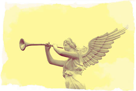 messengers of god: Retro image of trumpeting golden music angel statue  Stock Photo