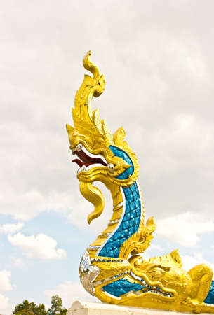 Arts of Buddhism-King of Naga statue in Thailand temple photo