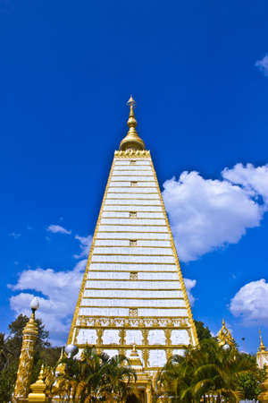 Religious place of buddhist Simulation of Bodh Gaya  Buddhakhaya  Chedi in Phra That Nhong Bua Temple ,Ubon Ratchathani, Thailand photo