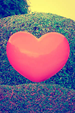 rende: Retro image - Valentines day Abstract Love Concept , Big pink heart on garden   Stock Photo