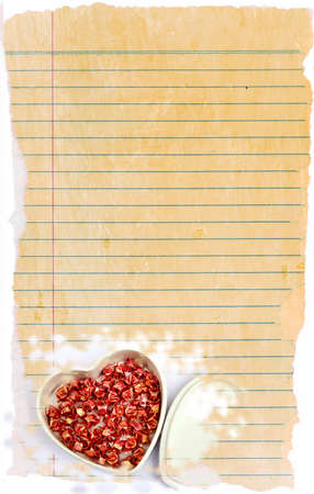 Old notepad paper with heart for text, love, concept and memo  photo