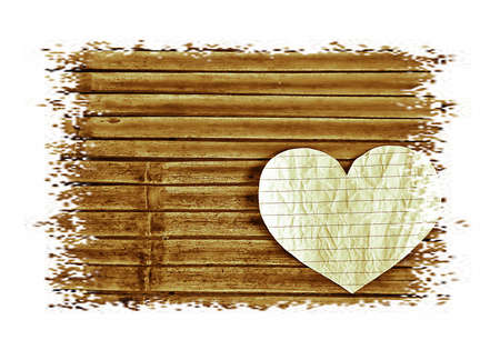 Grunge image , Bamboo pattern on white with paper heart photo