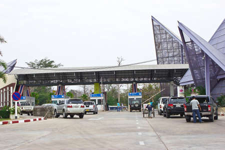 Chong Mek border crossing , THAILAND - FEBRUARY 14   Chong Mek-Wang Tao border – the permanent Thai-Laos border crossing point is a Ubon Ratchathani to for travel between Pakse on FEBRUARY 14, 2014 in CHONG MEK BORDER CROSSING, Thailand