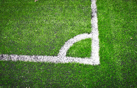 Soccer field, corner marker line photo