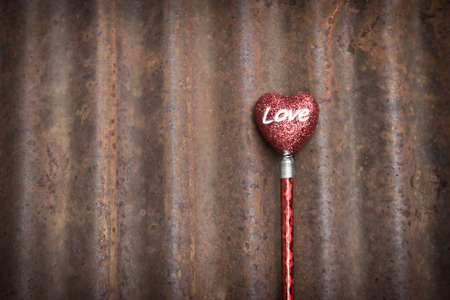 Grunge Valentines Day Background With Red Heart  photo