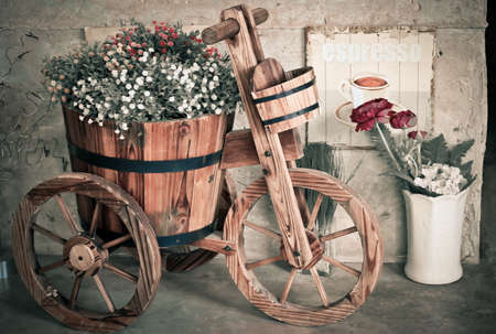 antique tricycle: Artificial flowers and antique tricycle for decoration , Vintage style