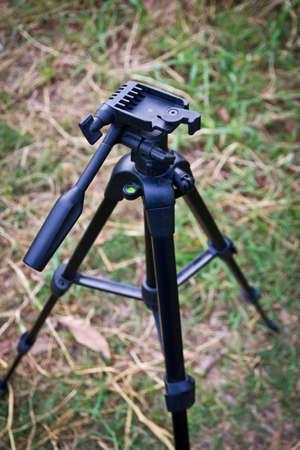tiny lenses: Photo tripod on top view Stock Photo
