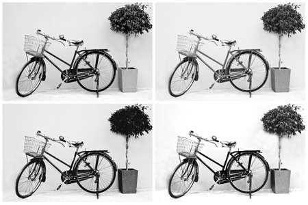 Retro image   Set of vintage bicycles ,classic bicycles  photo
