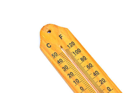Wooden Thermometer on white background photo
