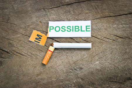 concep: Changing word impossible to possible for quitting smoking concep. (filter image) Stock Photo