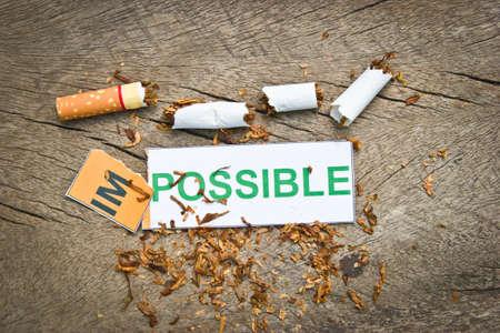 transformed: Cambio de palabra imposible transforma en posible. Los conceptos de �xito para dejar de fumar o D�a Mundial Sin Tabaco)
