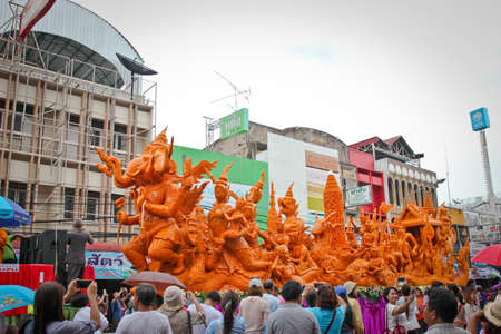 orenge: UBON RATCHATHANI, THAILAND - JULY 31:Ubon Ratchathani Candle Festival is the traditional well-known festival in I-san and the largest religious ceremony on July 31, 2015 in Ubon Ratchathani, Thailand.
