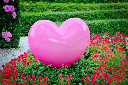 Corazón rosado en el jardín romántico. Foto de archivo - 43692742