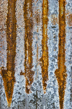 corrugated steel: Rusted galvanized iron roof plate.