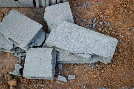 Group of broken cement bricks