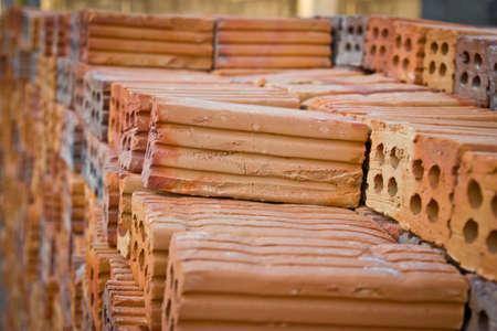 Orange bricks for construction.