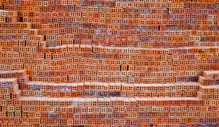group of red bricks on construction site Imagens