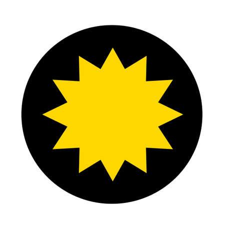 yellow star on black circle background