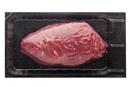 steak, ribeye, vacuum packing, isolated on white background, clipping path