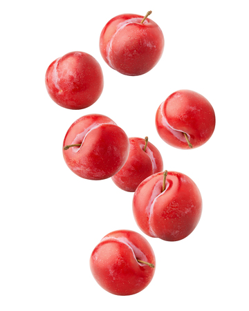 Falling plum isolated on white background, clipping path, full depth of field