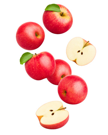 Falling Red juicy apple isolated on white background, clipping path, full depth of field Stock fotó
