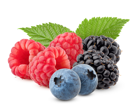 wild berries mix, raspberry, blueberries, blackberries isolated on white background, clipping path, full depth of field Stockfoto
