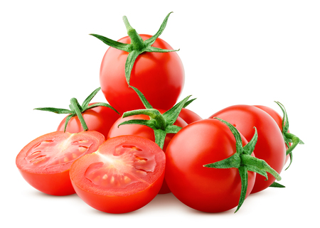 tomato cherry isolated on white background, clipping path, full depth of field 版權商用圖片