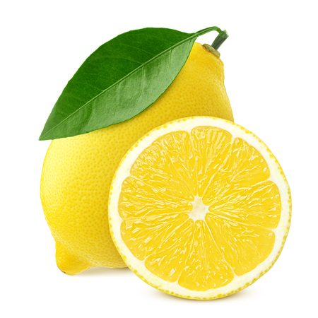 lemon, isolated on white background, clipping path, full depth of field 写真素材