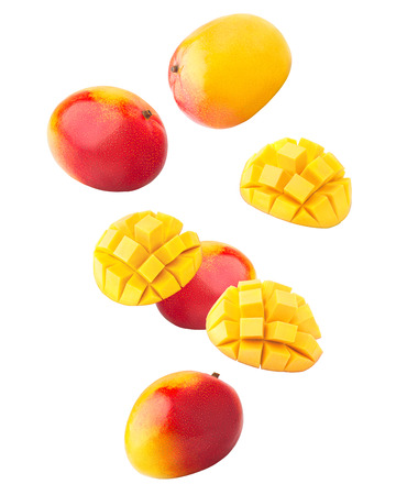 Falling mango isolated on white background, clipping path, full depth of field