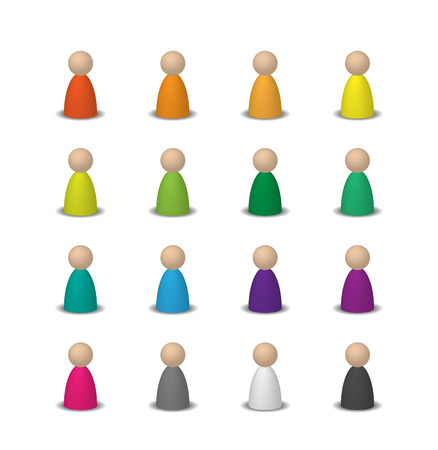 Colorful set 3d user icons. Isolated on white. Figures for the Board game. Illustration