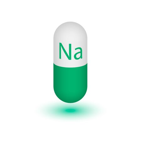 salt free: The icon of the mineral phosphorus. Capsule pills 3D vector molybdenum mineral and vitamin complex. A healthy lifestyle medical and food additive. Two-color capsules. Design element. Illustration