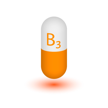 nicotinic: Symbol vitamin B3 isolated on white background. Nicotinamide. Nicotinic acid. Niacinamide. Two-tone capsule. Vector image. The element design. Stock Photo