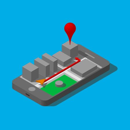 Mobile three-dimensional city and showing the way. GPS Navigator on your phone. Vector illustration with isometric. Design element.