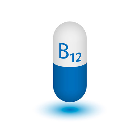 Vitamin B12 shot. Cyanocobalamin. Two-tone capsule on a white background. Design element. Vector illustration.