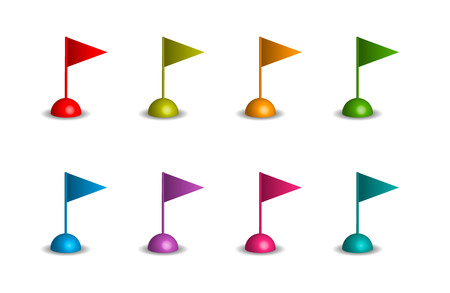 triangular flags in different colors on the white background Stock Photo